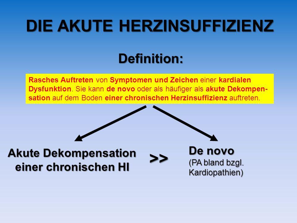 DIE AKUTE HERZINSUFFIZIENZ Rasches Auftreten von Symptomen und Zeichen einer kardialen Dysfunktion. Sie kann de novo oder als häufiger als akute Dekom