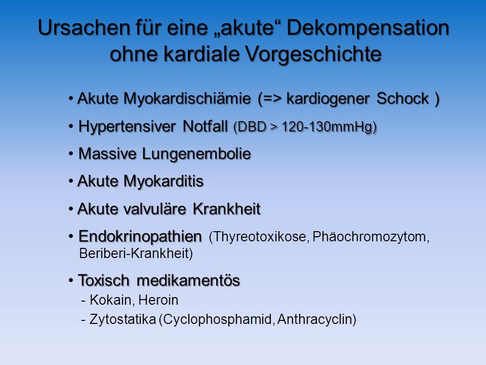 Ursachen für eine akute Dekompensation ohne kardiale Vorgeschichte Akute Myokardischiämie (=> kardiogener Schock ) Hypertensiver Notfall (DBD > 120-130mmHg) Massive Lungenembolie Akute Myokarditis Akute valvuläre Krankheit Endokrinopathien Endokrinopathien (Thyreotoxikose, Phäochromozytom, Beriberi-Krankheit) Toxisch medikamentös - Kokain, Heroin - Zytostatika (Cyclophosphamid, Anthracyclin)