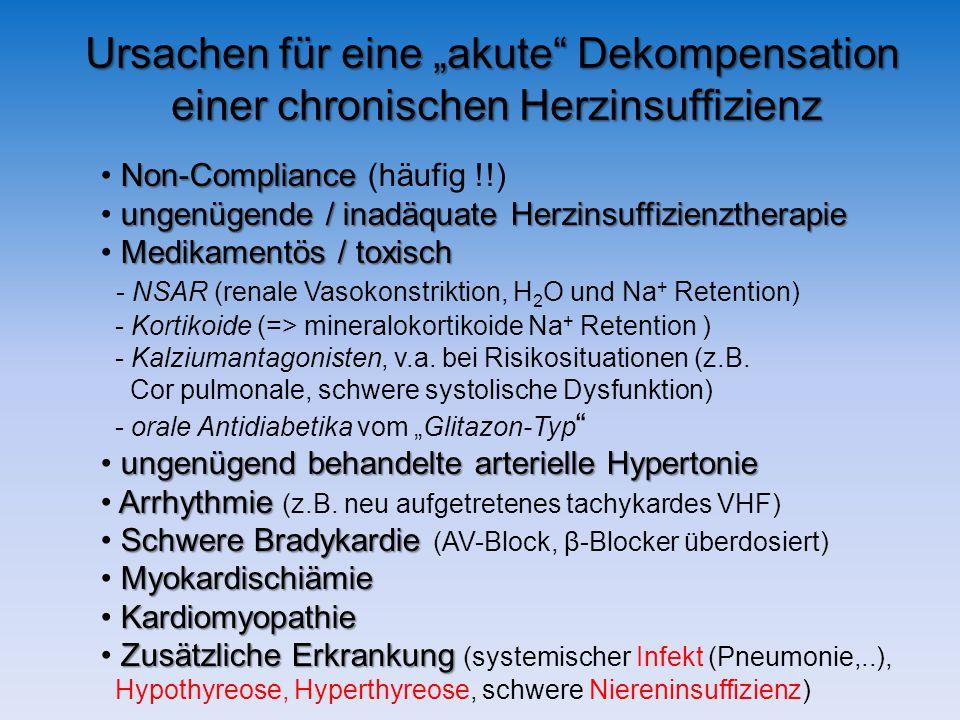 Ursachen für eine akute Dekompensation einer chronischen Herzinsuffizienz Non-Compliance Non-Compliance (häufig !!) ungenügende / inadäquate Herzinsuffizienztherapie Medikamentös / toxisch - NSAR (renale Vasokonstriktion, H 2 O und Na + Retention) - Kortikoide (=> mineralokortikoide Na + Retention ) - Kalziumantagonisten, v.a.