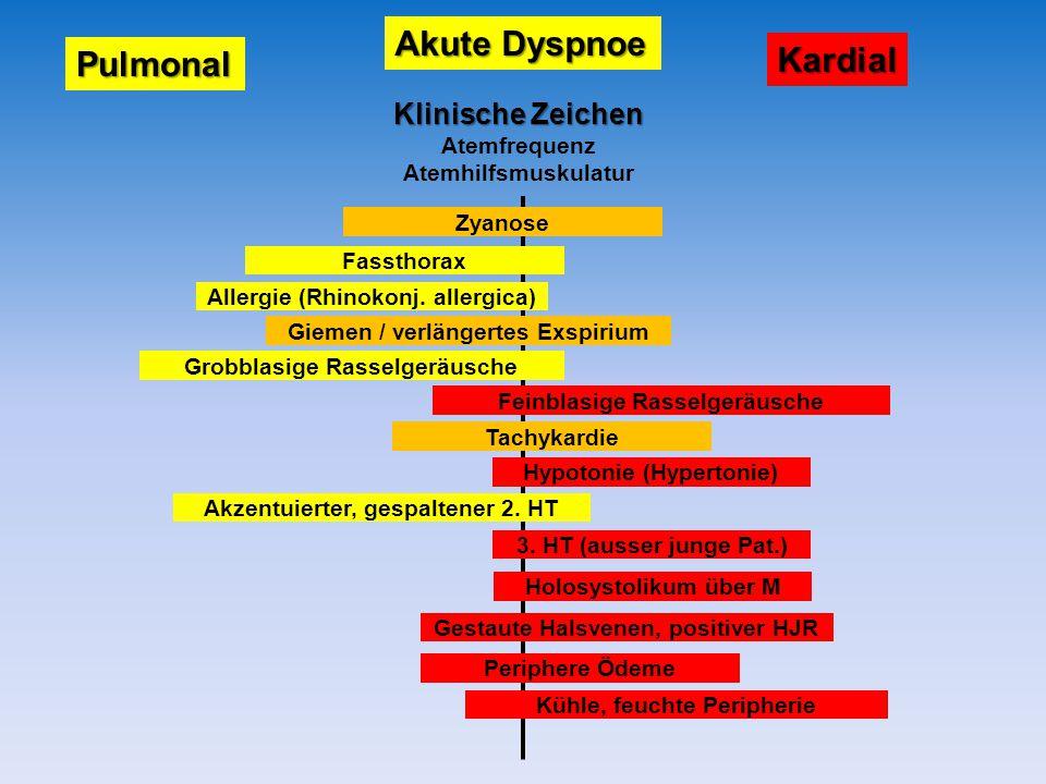 Akute Dyspnoe Pulmonal Kardial Zyanose Fassthorax Allergie (Rhinokonj. allergica) Grobblasige Rasselgeräusche Giemen / verlängertes Exspirium Feinblas