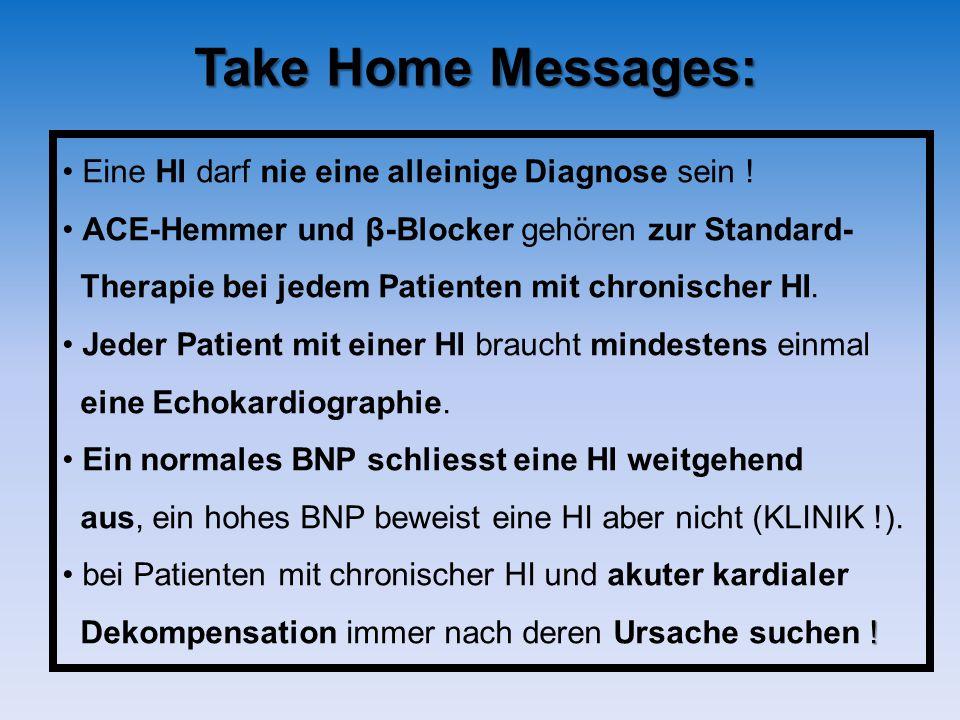 Take Home Messages: Eine HI darf nie eine alleinige Diagnose sein ! ACE-Hemmer und β-Blocker gehören zur Standard- Therapie bei jedem Patienten mit ch