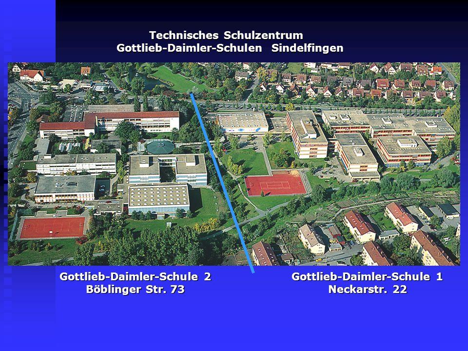 Gottlieb-Daimler-Schule 1 Technisches Gymnasium Gottlieb-Daimler-Schule 1 Technisches Schulzentrum Neckarstrasse 22 71065 Sindelfingen Fon: 07031-6108-0 Fax: 6108-250 technisches.schulzentrum@gds1.de | www.gds1.dewww.gds1.de Schulleiter: Herr Esch Die.