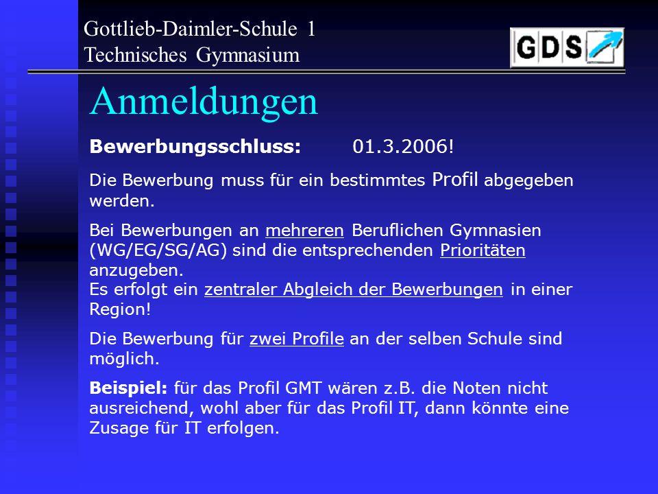 Aufnahmevoraussetzungen - Realschulabschluss mit mindestens Notenschnitt in Deutsch/Mathe/Englisch von 3,0 keine Leistung darf schlechter als 4,0 sein