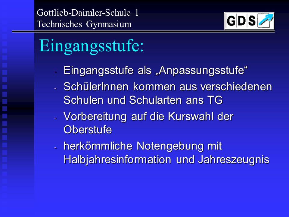 Gottlieb-Daimler-Schule 1 Technisches Gymnasium J1.5-Schüler: TG-Qualitäten? Was erwartet einen? Angenehme Schulatmosph ä re Gutes Klassenklima Pers ö