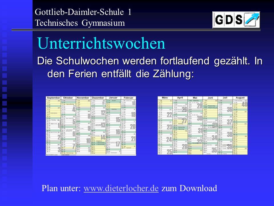 Gottlieb-Daimler-Schule 1 Technisches Gymnasium Unterrichtszeiten Nahezu alle Unterrichte werden als Doppelstunden durchgeführt !! 1./2.3./4.5./6.7.8.