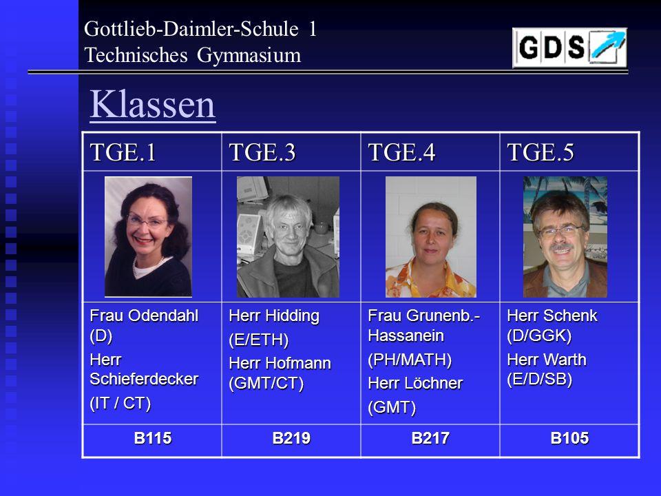 Gottlieb-Daimler-Schule 1 Technisches Gymnasium Klassen Die Einteilung der Klassen erfolgte nach Vorgabe der zweiten Fremdsprache: -E.1 : IT mit Spanisch -E.2 : - - -E.3 : GMT mit Spanisch -E.4 : GMT ohne FS oder mit Französisch -E.5 : T mit Spanisch bzw.