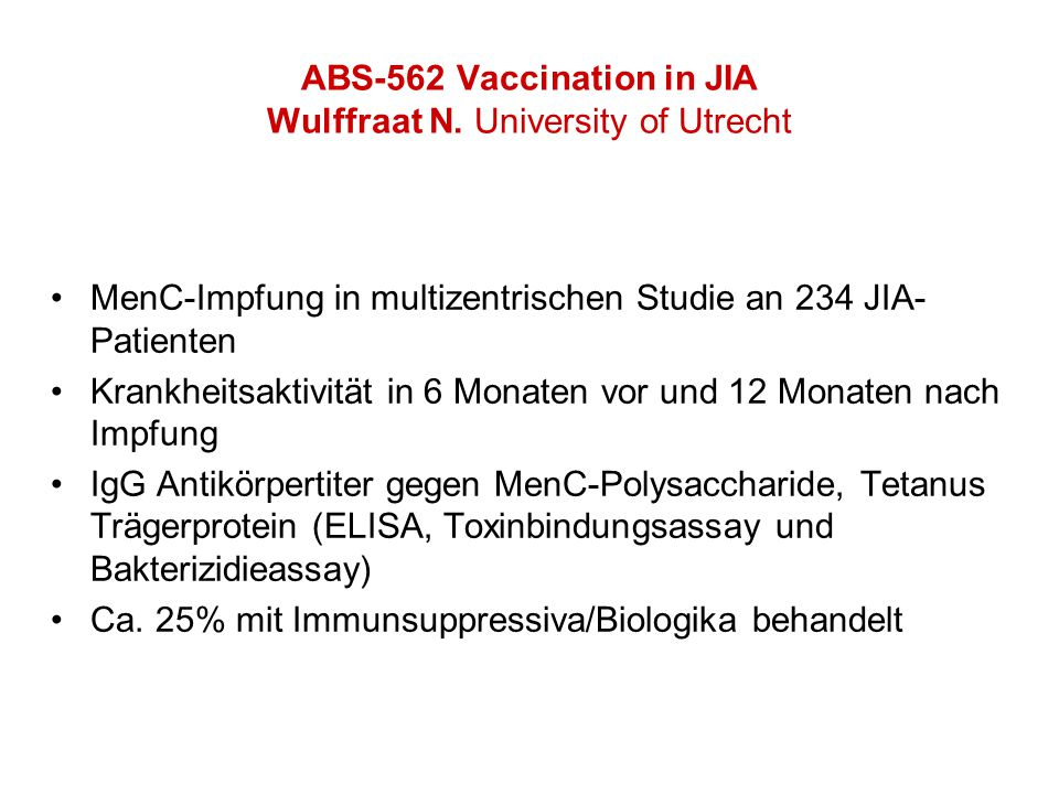 ABS-562 Vaccination in JIA Wulffraat N.