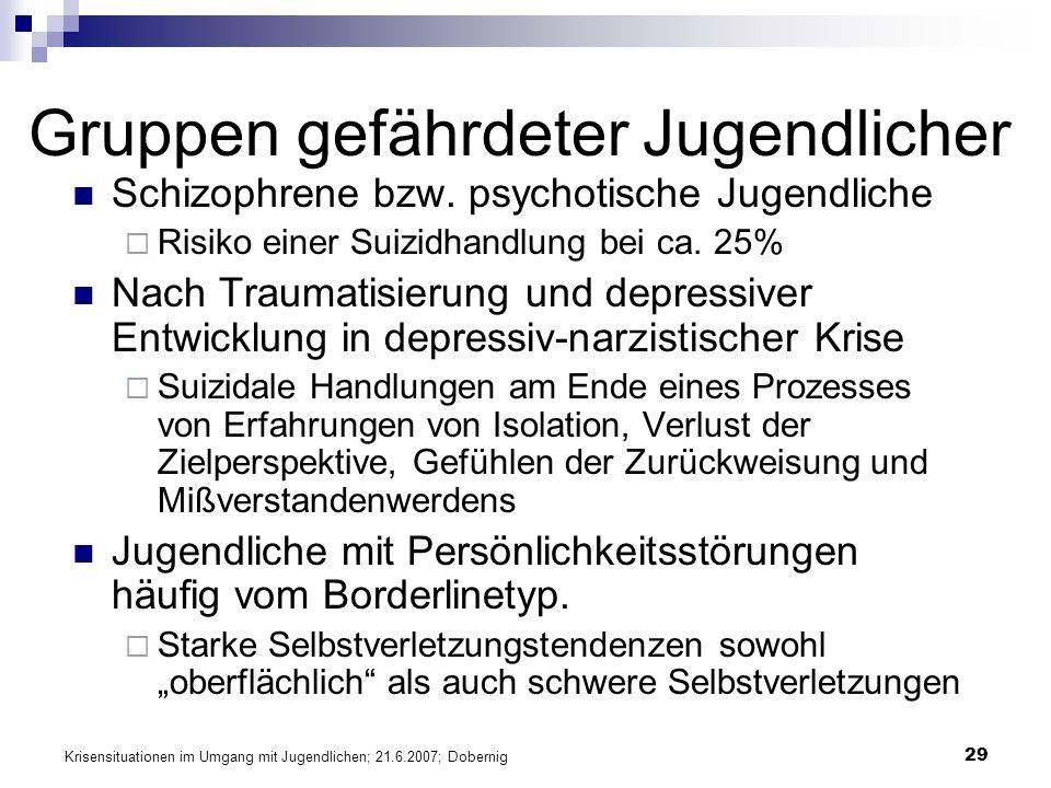 Krisensituationen im Umgang mit Jugendlichen; 21.6.2007; Dobernig 29 Gruppen gefährdeter Jugendlicher Schizophrene bzw. psychotische Jugendliche Risik