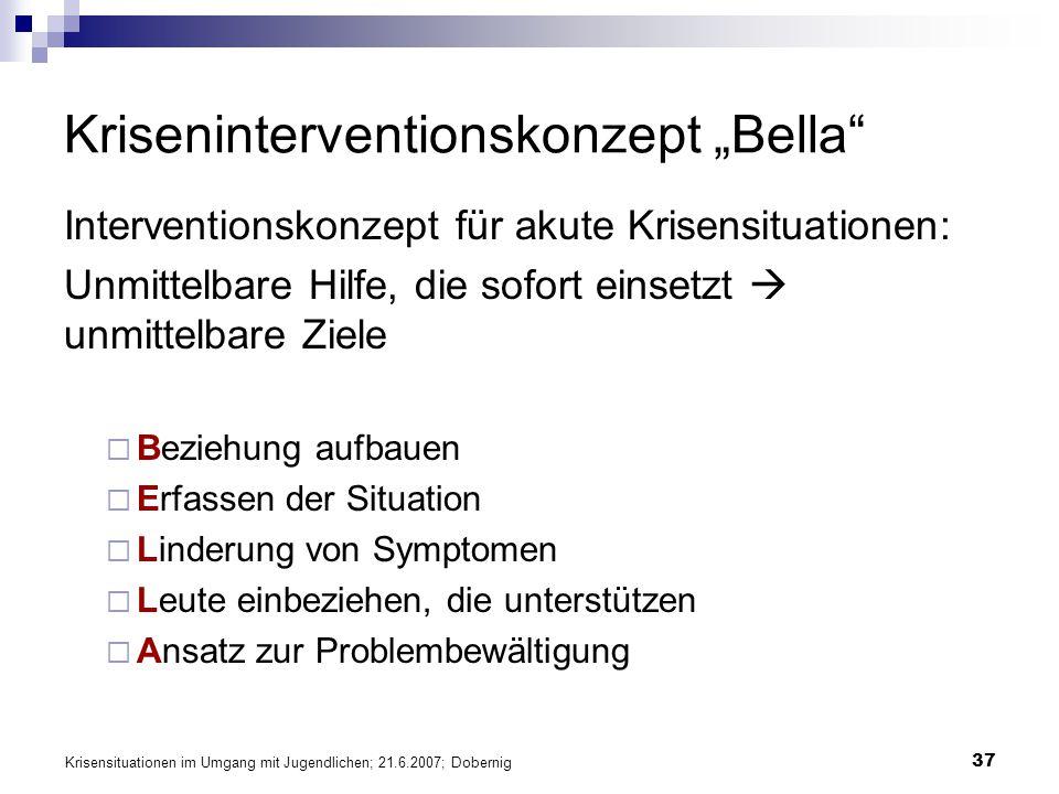 Krisensituationen im Umgang mit Jugendlichen; 21.6.2007; Dobernig 37 Kriseninterventionskonzept Bella Interventionskonzept für akute Krisensituationen