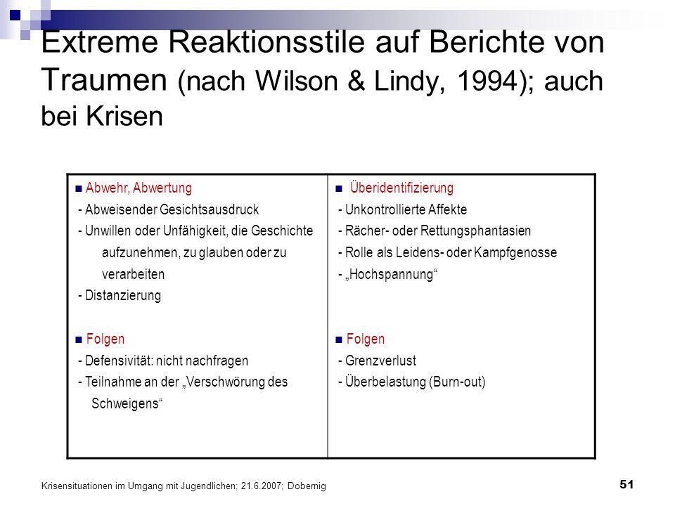 Krisensituationen im Umgang mit Jugendlichen; 21.6.2007; Dobernig 51 Extreme Reaktionsstile auf Berichte von Traumen (nach Wilson & Lindy, 1994); auch