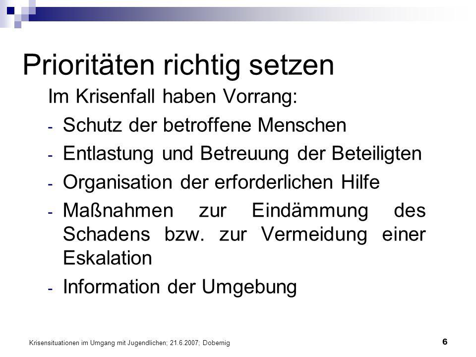 Krisensituationen im Umgang mit Jugendlichen; 21.6.2007; Dobernig 6 Prioritäten richtig setzen Im Krisenfall haben Vorrang: - Schutz der betroffene Me