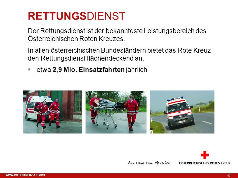 10 WWW.ROTESKREUZ.AT | 2013 RETTUNGSDIENST Der Rettungsdienst ist der bekannteste Leistungsbereich des Österreichischen Roten Kreuzes. In allen österr