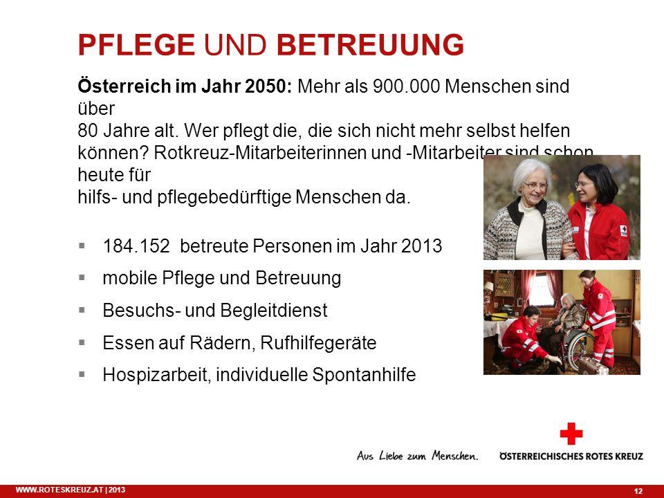 12 WWW.ROTESKREUZ.AT | 2013 PFLEGE UND BETREUUNG Österreich im Jahr 2050: Mehr als 900.000 Menschen sind über 80 Jahre alt. Wer pflegt die, die sich n
