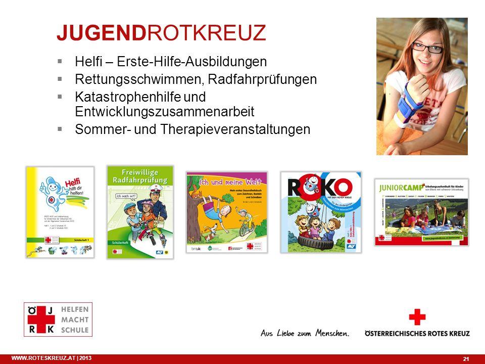 21 WWW.ROTESKREUZ.AT | 2013 Helfi – Erste-Hilfe-Ausbildungen Rettungsschwimmen, Radfahrprüfungen Katastrophenhilfe und Entwicklungszusammenarbeit Somm