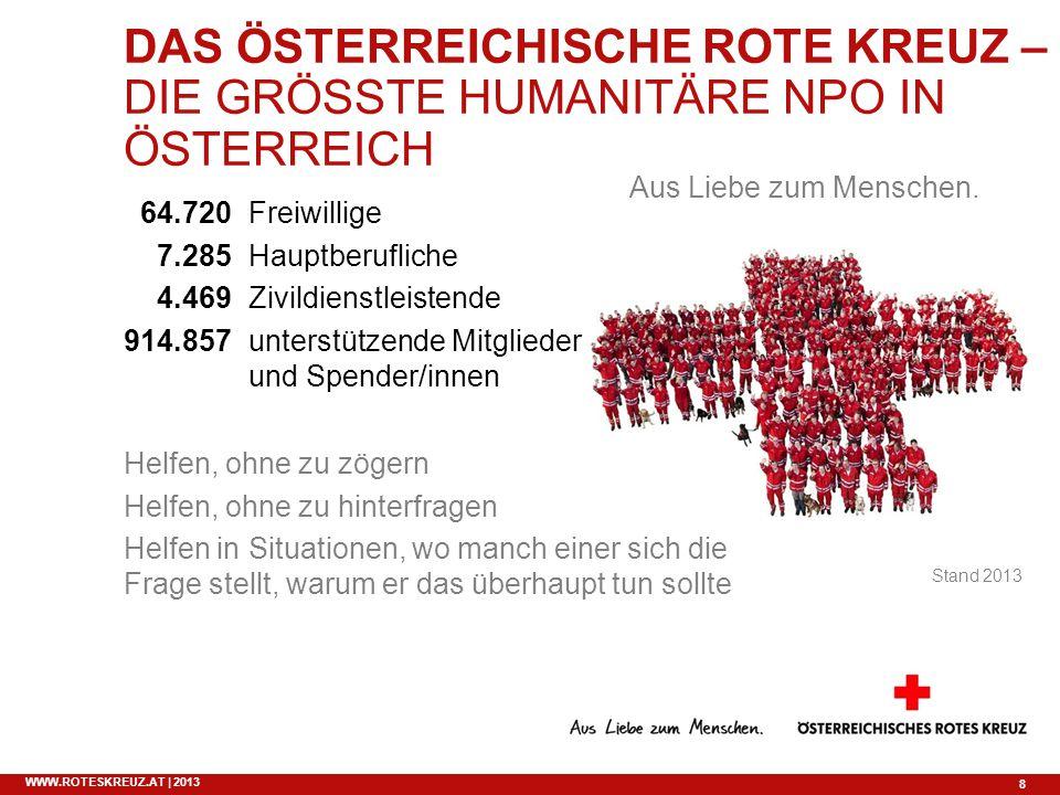 8 WWW.ROTESKREUZ.AT | 2013 DAS ÖSTERREICHISCHE ROTE KREUZ – DIE GRÖSSTE HUMANITÄRE NPO IN ÖSTERREICH Freiwillige Hauptberufliche Zivildienstleistende