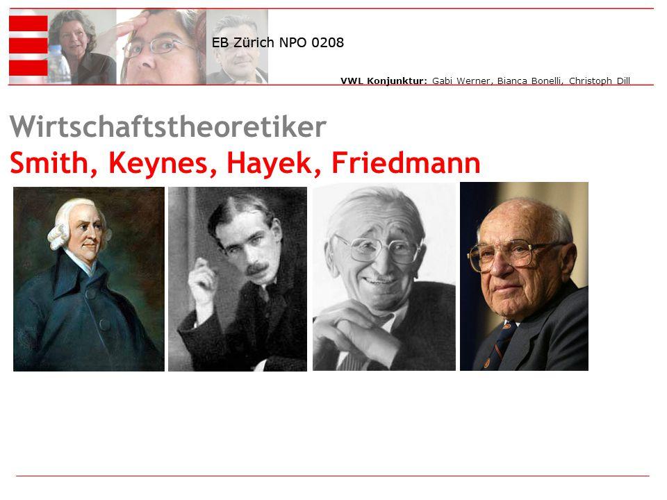 VWL Konjunktur: Gabi Werner, Bianca Bonelli, Christoph Dill Wirtschaftstheoretiker Smith, Keynes, Hayek, Friedmann sdfsdf
