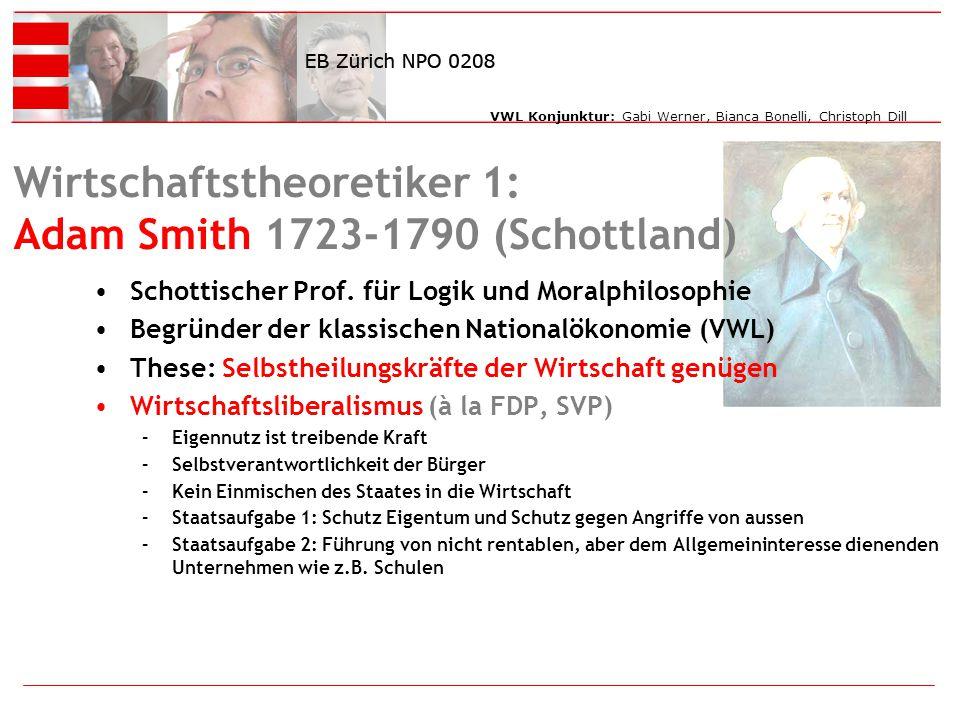 VWL Konjunktur: Gabi Werner, Bianca Bonelli, Christoph Dill Wirtschaftstheoretiker 1: Adam Smith 1723-1790 (Schottland) Schottischer Prof.