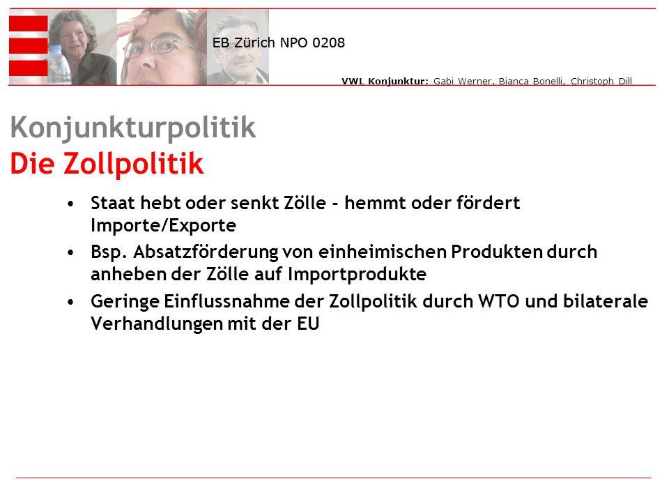 VWL Konjunktur: Gabi Werner, Bianca Bonelli, Christoph Dill Konjunkturpolitik Die Zollpolitik Staat hebt oder senkt Zölle - hemmt oder fördert Importe/Exporte Bsp.