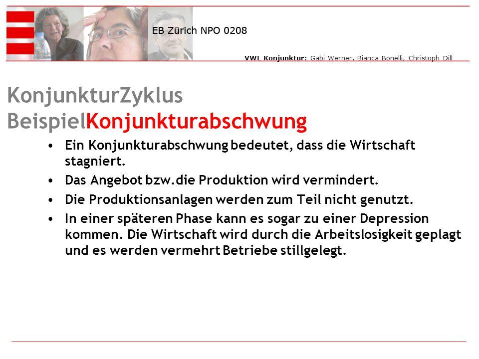 VWL Konjunktur: Gabi Werner, Bianca Bonelli, Christoph Dill KonjunkturZyklus BeispielKonjunkturabschwung Ein Konjunkturabschwung bedeutet, dass die Wirtschaft stagniert.