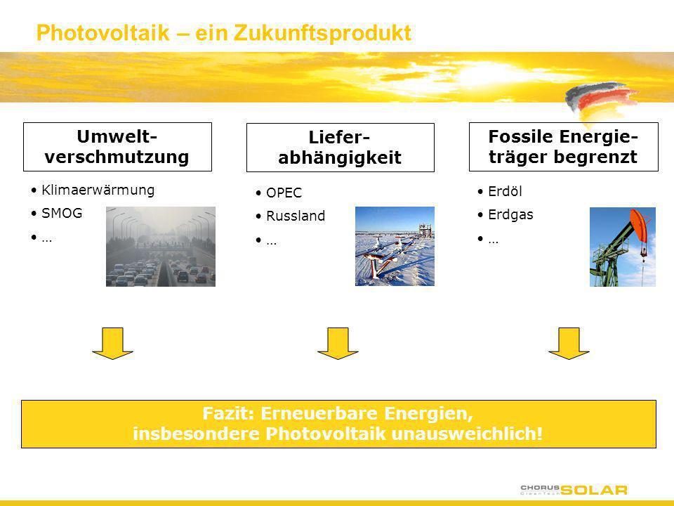 Photovoltaik – ein Zukunftsprodukt Umwelt- verschmutzung Klimaerwärmung SMOG … Liefer- abhängigkeit OPEC Russland … Fossile Energie- träger begrenzt E