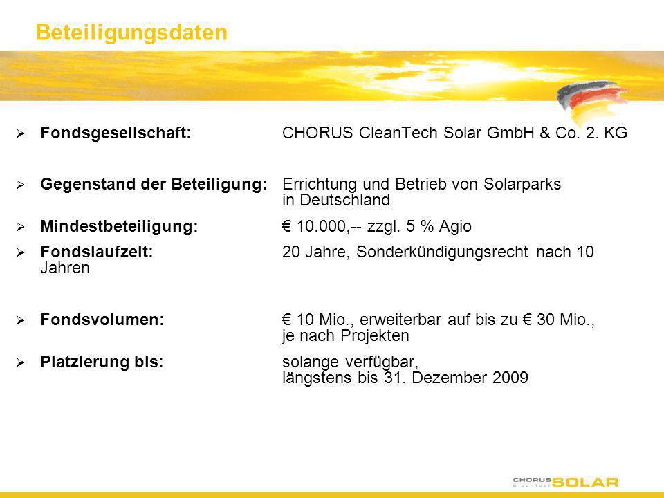 Beteiligungsdaten Fondsgesellschaft:CHORUS CleanTech Solar GmbH & Co. 2. KG Gegenstand der Beteiligung:Errichtung und Betrieb von Solarparks in Deutsc