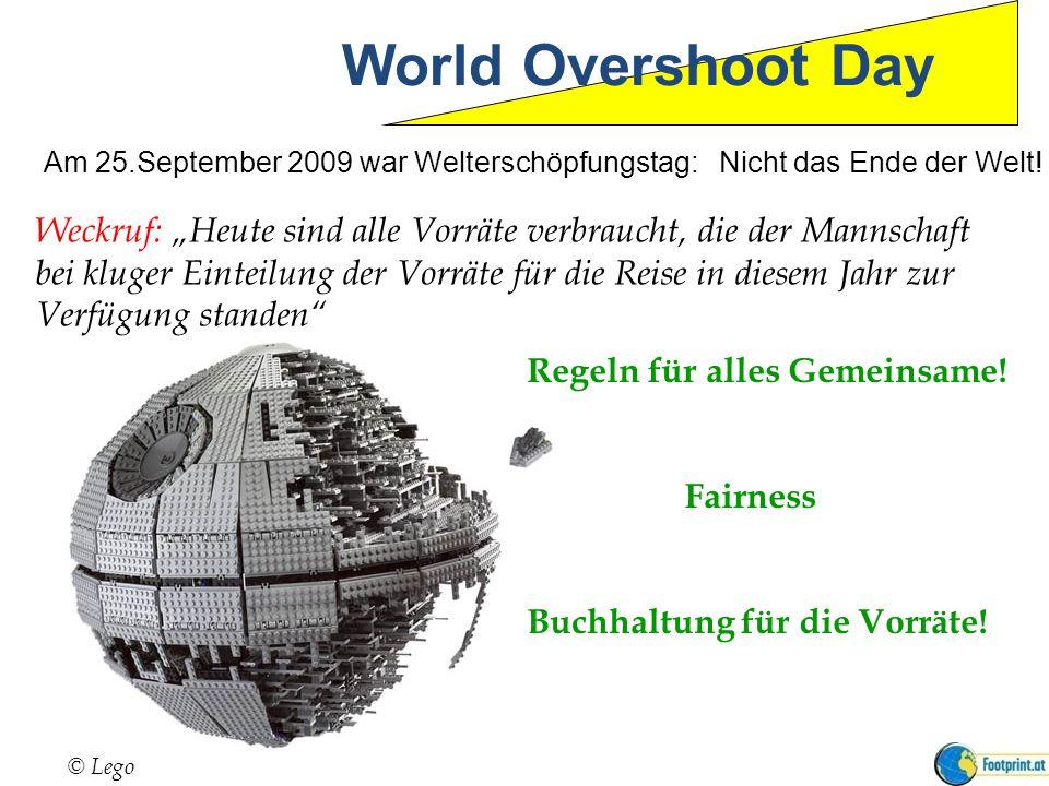 World Overshoot Day Weckruf: Heute sind alle Vorräte verbraucht, die der Mannschaft bei kluger Einteilung der Vorräte für die Reise in diesem Jahr zur Verfügung standen © Lego Regeln für alles Gemeinsame.