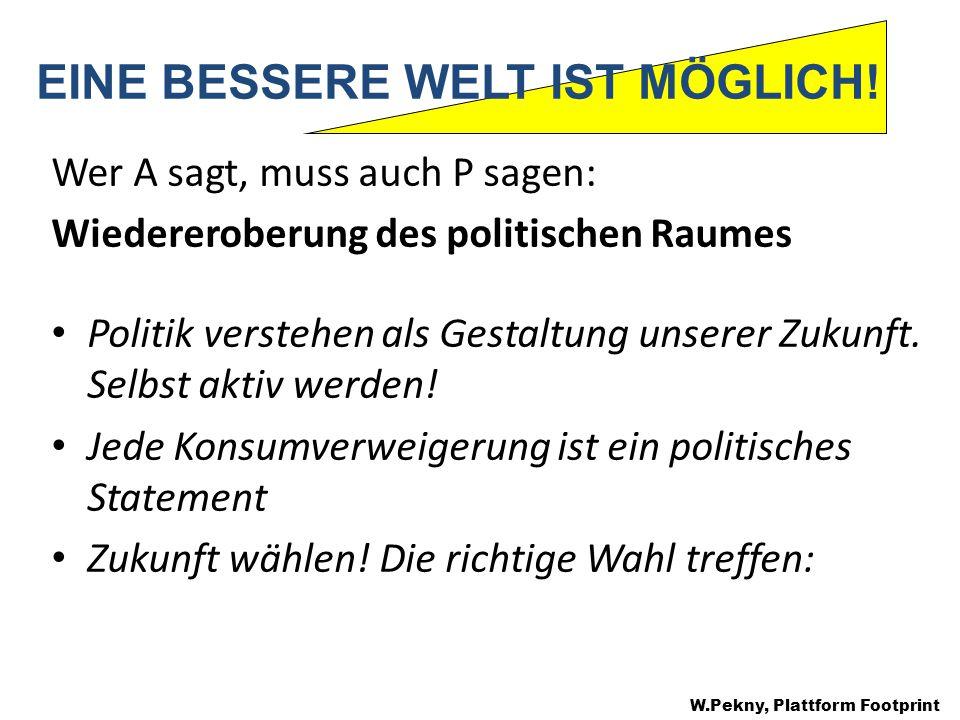 Wer A sagt, muss auch P sagen: Wiedereroberung des politischen Raumes Politik verstehen als Gestaltung unserer Zukunft.