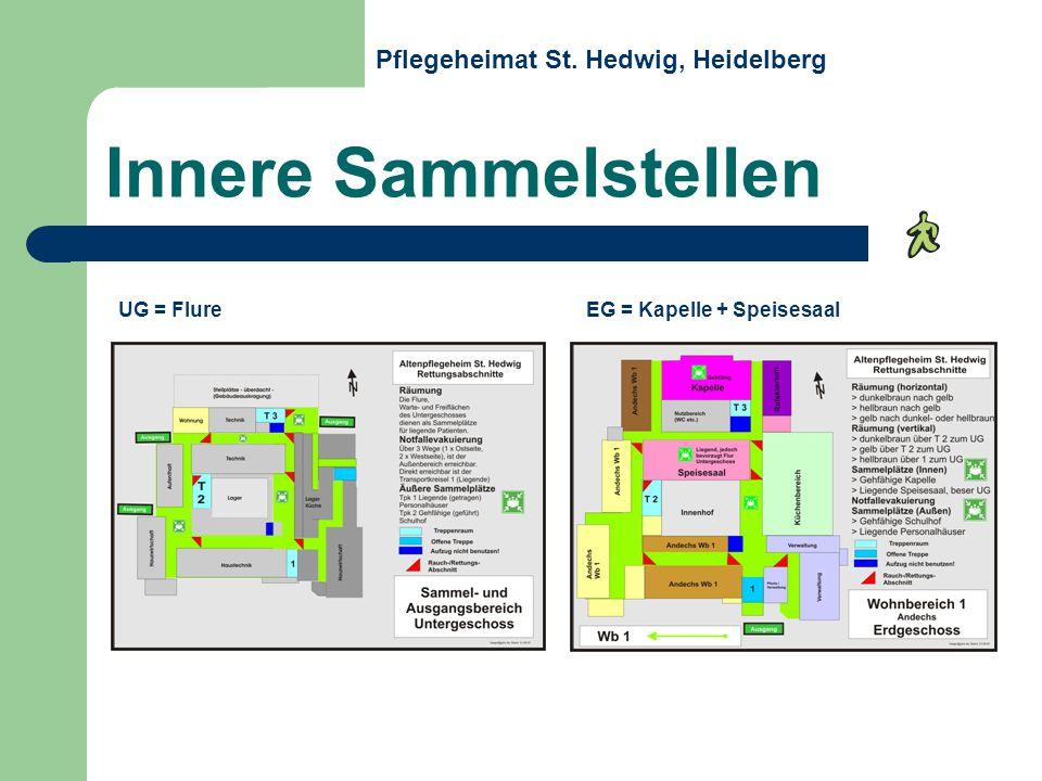 Innere Sammelstellen UG = Flure EG = Kapelle + Speisesaal Pflegeheimat St. Hedwig, Heidelberg