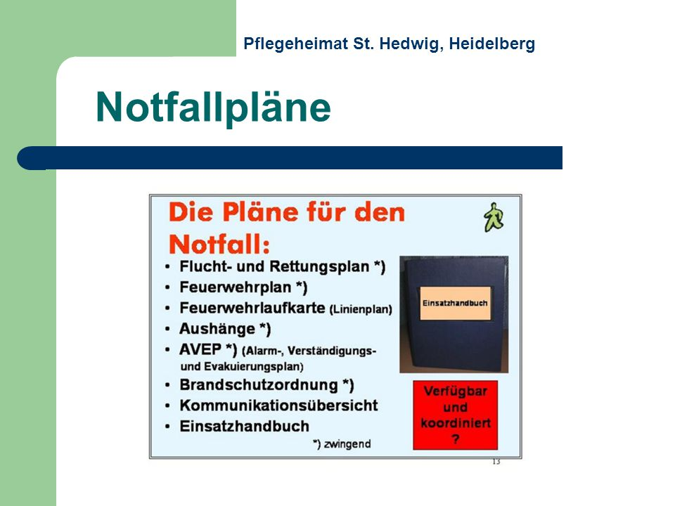 Notfallpläne Pflegeheimat St. Hedwig, Heidelberg
