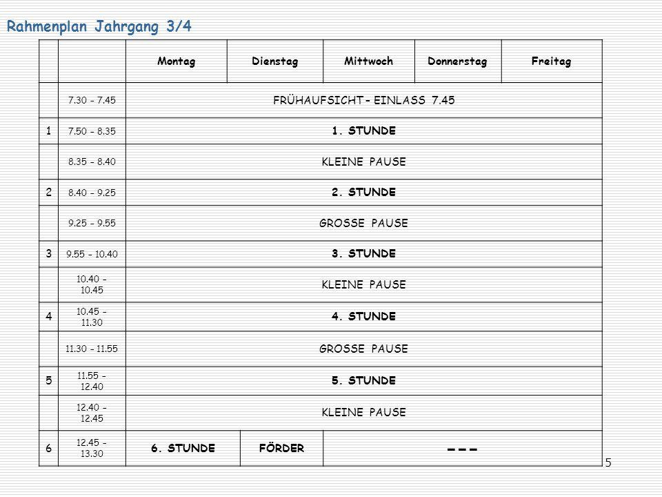 5 Rahmenplan Jahrgang 3/4 MontagDienstagMittwochDonnerstagFreitag 7.30 – 7.45 FRÜHAUFSICHT – EINLASS 7.45 1 7.50 – 8.35 1. STUNDE 8.35 – 8.40 KLEINE P
