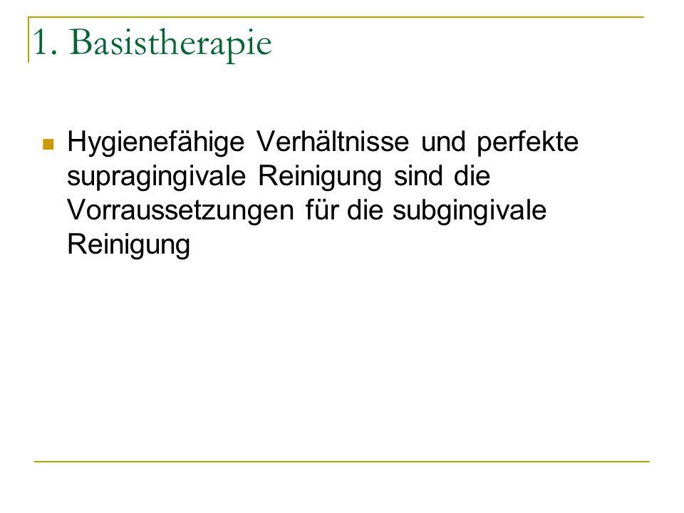 1. Basistherapie Hygienefähige Verhältnisse und perfekte supragingivale Reinigung sind die Vorraussetzungen für die subgingivale Reinigung