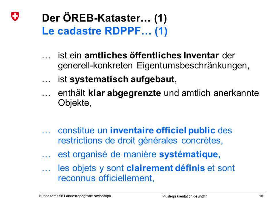 10 Bundesamt für Landestopografie swisstopo Musterpräsentation de und fr Der ÖREB-Kataster… (1) Le cadastre RDPPF… (1) … ist ein amtliches öffentliche