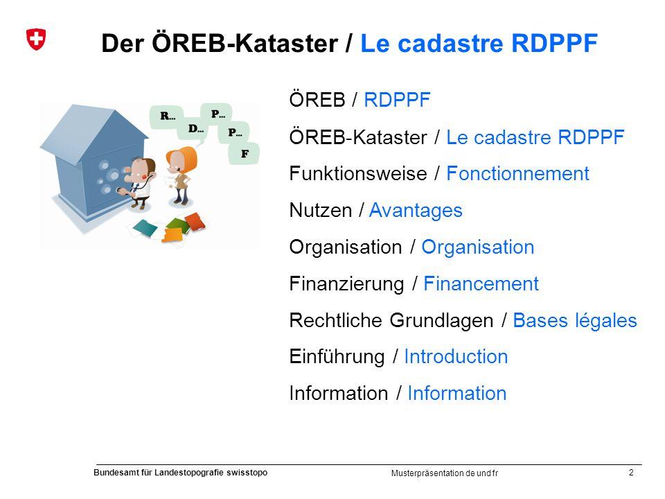 2 Bundesamt für Landestopografie swisstopo Musterpräsentation de und fr Der ÖREB-Kataster / Le cadastre RDPPF ÖREB / RDPPF ÖREB-Kataster / Le cadastre