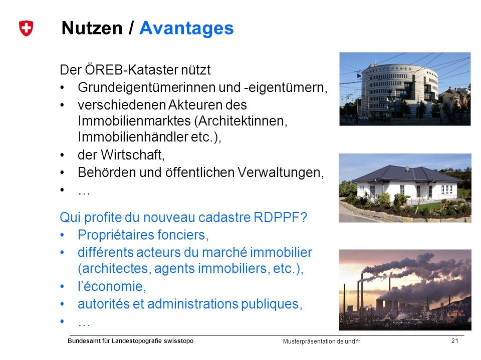21 Bundesamt für Landestopografie swisstopo Musterpräsentation de und fr Nutzen / Avantages Der ÖREB-Kataster nützt Grundeigentümerinnen und -eigentüm