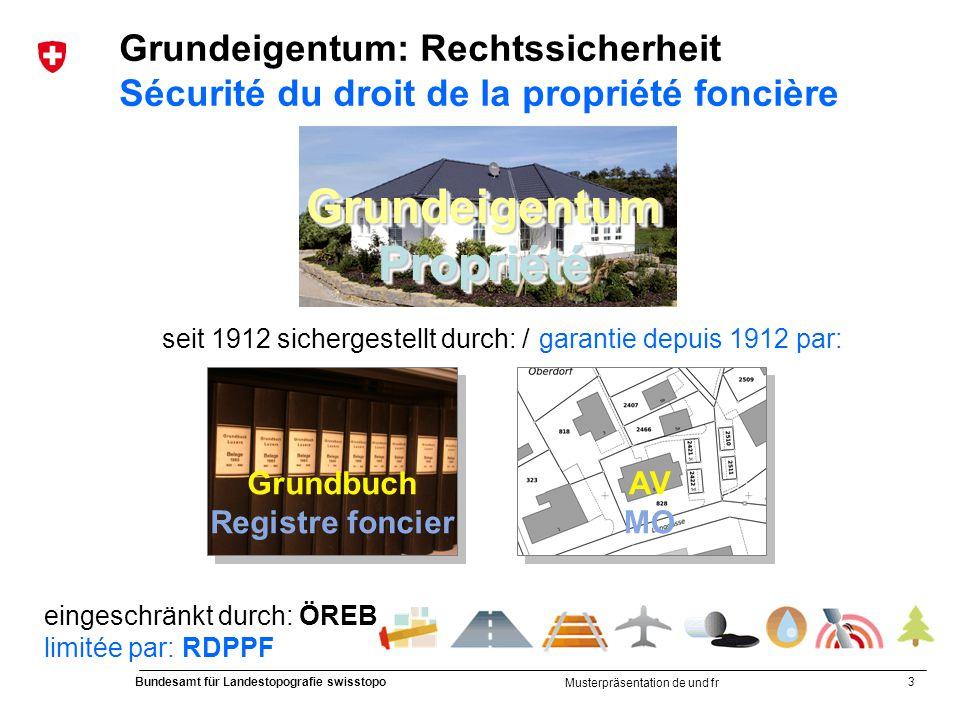 3 Bundesamt für Landestopografie swisstopo Musterpräsentation de und fr GrundeigentumPropriétéGrundeigentumPropriété seit 1912 sichergestellt durch: /