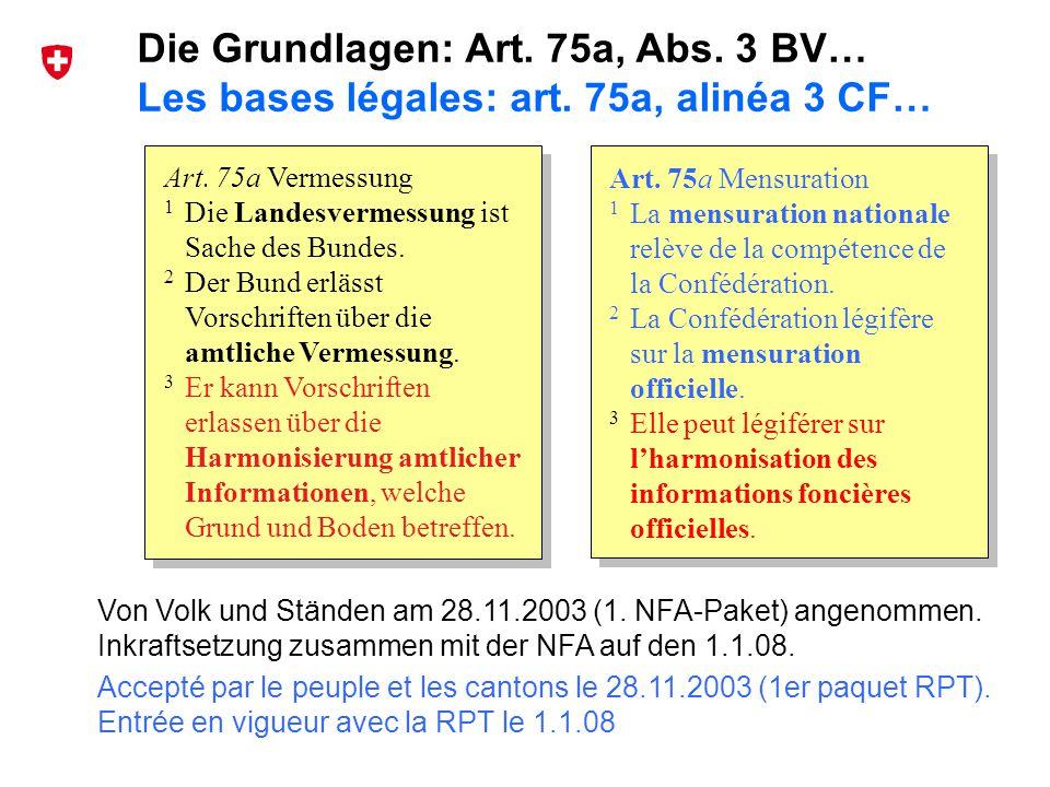 38 Bundesamt für Landestopografie swisstopo Musterpräsentation de und fr Von Volk und Ständen am 28.11.2003 (1. NFA-Paket) angenommen. Inkraftsetzung