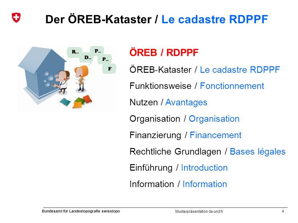 4 Bundesamt für Landestopografie swisstopo Musterpräsentation de und fr Der ÖREB-Kataster / Le cadastre RDPPF ÖREB / RDPPF ÖREB-Kataster / Le cadastre