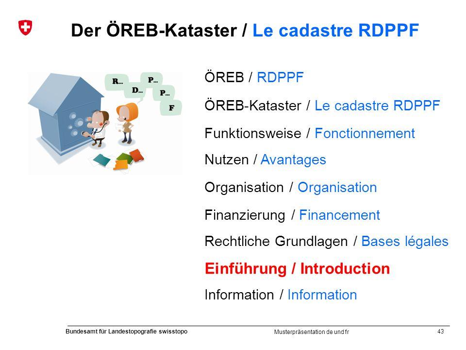43 Bundesamt für Landestopografie swisstopo Musterpräsentation de und fr Der ÖREB-Kataster / Le cadastre RDPPF ÖREB / RDPPF ÖREB-Kataster / Le cadastr