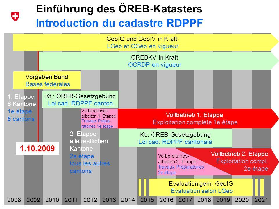 45 Bundesamt für Landestopografie swisstopo Musterpräsentation de und fr Einführung des ÖREB-Katasters Introduction du cadastre RDPPF 2008200920102011