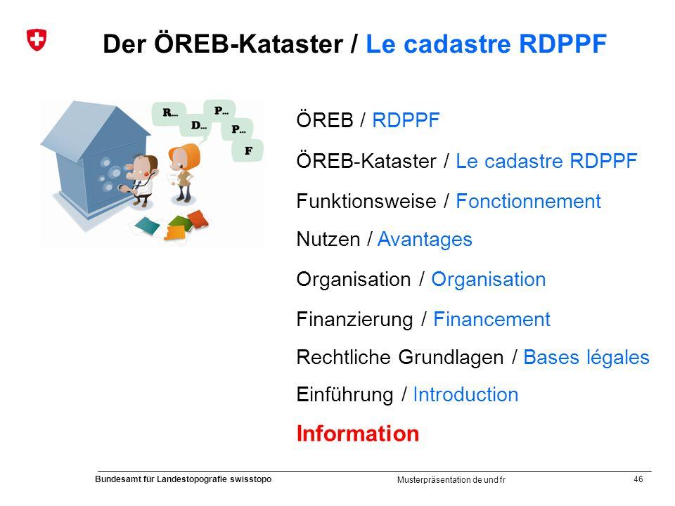 46 Bundesamt für Landestopografie swisstopo Musterpräsentation de und fr Der ÖREB-Kataster / Le cadastre RDPPF ÖREB / RDPPF ÖREB-Kataster / Le cadastr