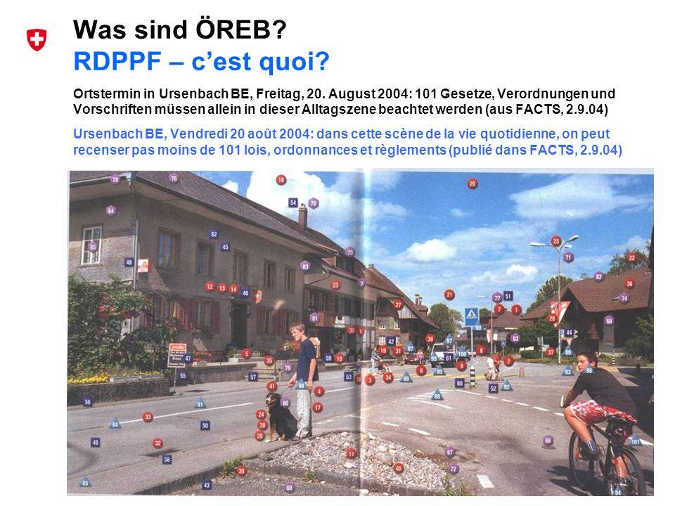 5 Bundesamt für Landestopografie swisstopo Musterpräsentation de und fr Was sind ÖREB? RDPPF – cest quoi? Ortstermin in Ursenbach BE, Freitag, 20. Aug