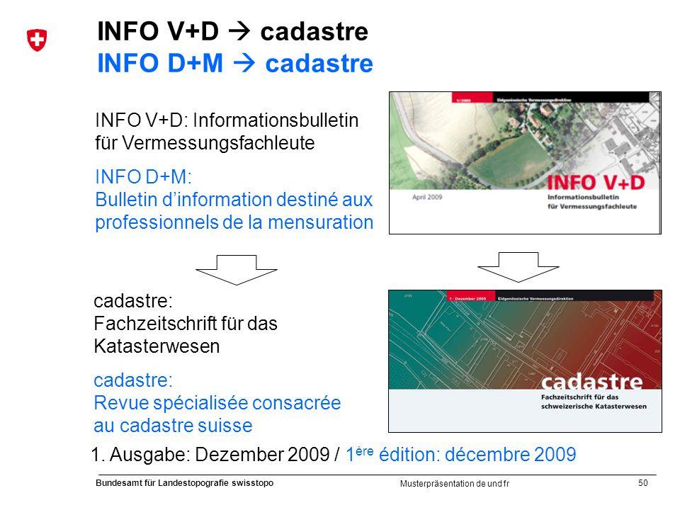 50 Bundesamt für Landestopografie swisstopo Musterpräsentation de und fr INFO V+D cadastre INFO D+M cadastre INFO V+D: Informationsbulletin für Vermes