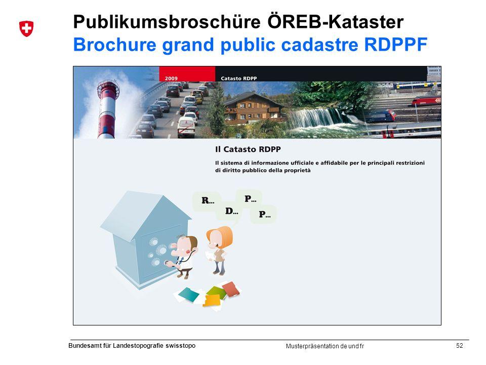 52 Bundesamt für Landestopografie swisstopo Musterpräsentation de und fr Publikumsbroschüre ÖREB-Kataster Brochure grand public cadastre RDPPF