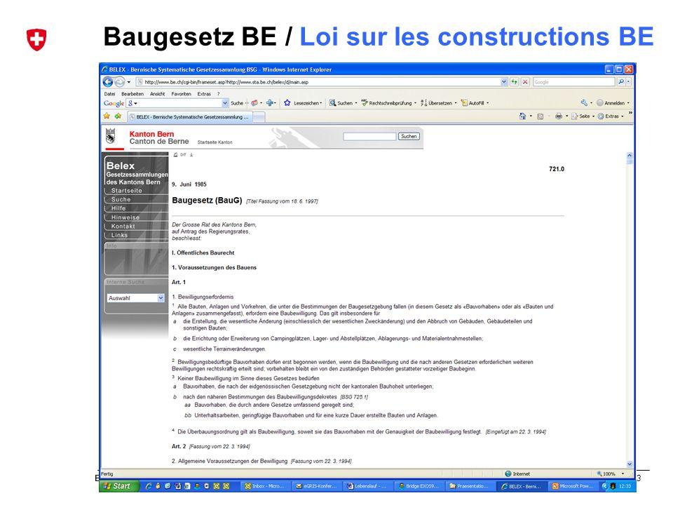63 Bundesamt für Landestopografie swisstopo Musterpräsentation de und fr Baugesetz BE / Loi sur les constructions BE