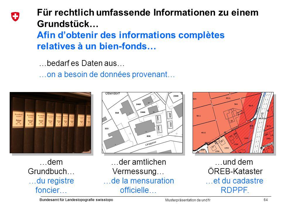 64 Bundesamt für Landestopografie swisstopo Musterpräsentation de und fr Für rechtlich umfassende Informationen zu einem Grundstück… Afin dobtenir des