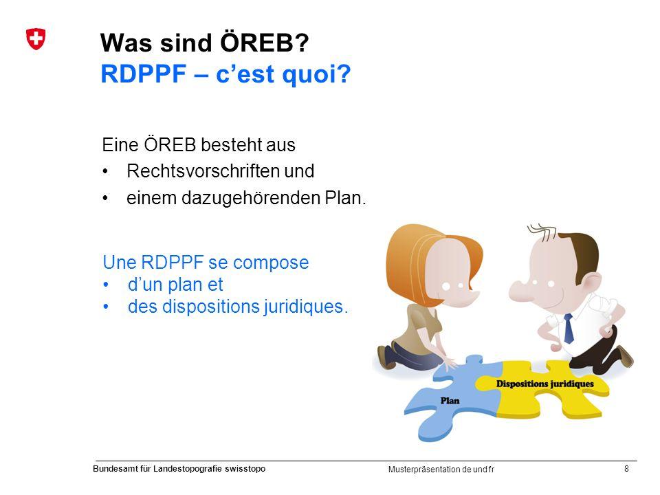 8 Bundesamt für Landestopografie swisstopo Musterpräsentation de und fr Was sind ÖREB? RDPPF – cest quoi? Eine ÖREB besteht aus Rechtsvorschriften und