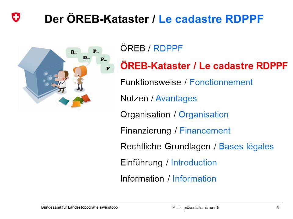 9 Bundesamt für Landestopografie swisstopo Musterpräsentation de und fr Der ÖREB-Kataster / Le cadastre RDPPF ÖREB / RDPPF ÖREB-Kataster / Le cadastre