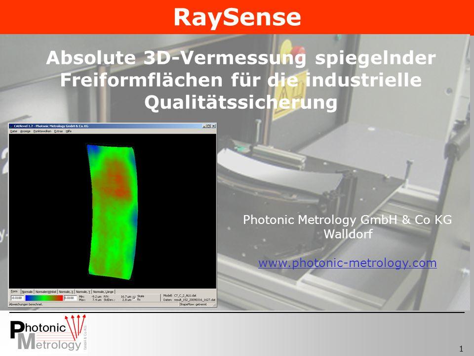 1 Photonic Metrology GmbH & Co KG Walldorf www.photonic-metrology.com Absolute 3D-Vermessung spiegelnder Freiformflächen für die industrielle Qualität