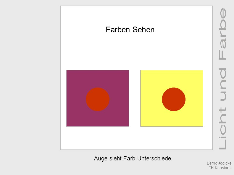 Auge sieht Farb-Unterschiede Farben Sehen Bernd Jödicke FH Konstanz