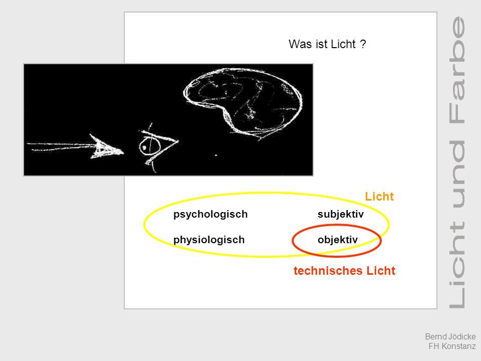 - was ist Licht - Licht messen - Licht sehen - Licht erzeugen - Licht einsetzen Bernd Jödicke FH Konstanz